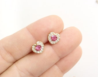 little tiny rhinestones hearts earrings small pink heart studs earrings pierced studs heart earrings