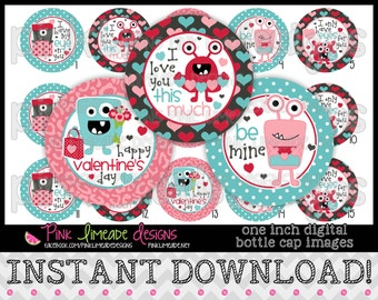 "Valentine Monsters - INSTANT DOWNLOAD 1"" Bottle Cap Images 4x6 - 774"