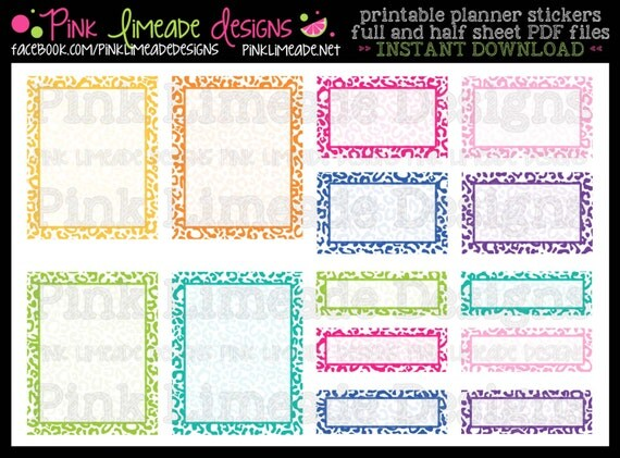 Leopard print boxes full half quarter boxes printable for Half page sticker labels