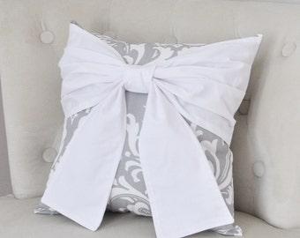 Throw Pillow White Bow on a Gray and White Damask Pillow 14x14 -White Pillow-