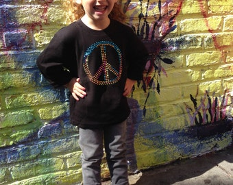 Long Sleeve Rhinestud Peace Sign Shirt