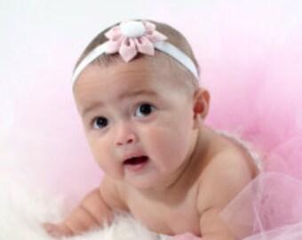Pink & White  Fabric Flower You Choose - Hair Clip, Headband, Elastic Headband, Ponytail Holder - Kanzashi Fabric Flower