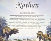 Personalized Your Child's NAME MEANING  Prehistoric Dinosaurs  CHILDS Gift  8.5 X 11 ships in 24hrs