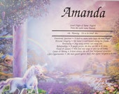 Personalized Your Child's NAME MEANING GIFT  Rainbow Unicorn  Gift for Girl 8.5 X 11 ships in 24hrs