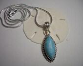 Sale, blue Larimar pendant, silver necklace, Larimar, light blue, gemstone pendant, blue Caribbean Larimar, silver snake chain, lead free