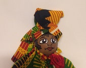 African Dressed Mini Doll Birthday or Retirement Gift for a Special Lady
