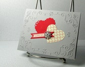 Price Slashed - Valentines Day Card Handmade Red Hearts and Bling on Gray Valentine Card Choice of Sentiments