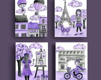 Paris room art, Paris baby nursery art, kids lavender gray decor, toile parisian fashion ,girls nursery art,