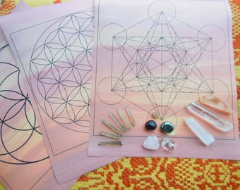 Travel Set Crystal Grid Healing Pages Energy Stones with Genuine Lemurian Seeds