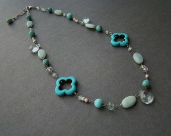Sale Ooak Turquoise Amazonite Gemstone Silver Necklace. Nautical jewelry