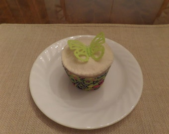 Felt Food, Vanilla Cupcake with Frosting and Butterfly Topper