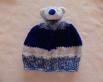 Baby, Toddler hand-knit hat, Blue Bear