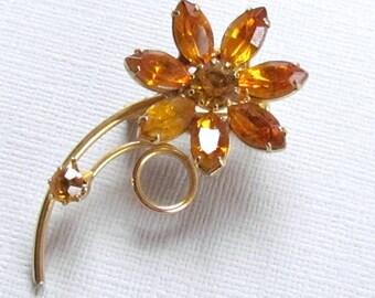 Amber Rhinestone Flower Pin