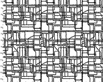"""Rush Hour from Studio E Fabrics - 1 Yard 12"""" End of the Bolt Black and White City Street Design/Layout"""