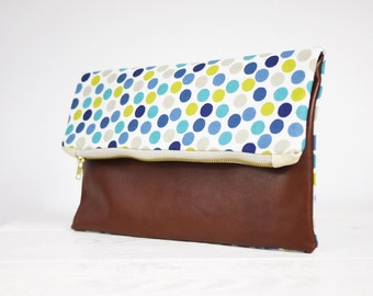 Foldover Clutch Purse | Dotts and natural brown Leather | Zippered Clutch