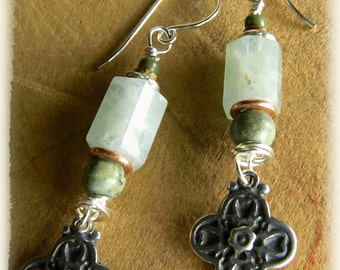 Rustic Bohemian Jewelry Aquamarine Earrings Sterling Silver African Turquoise
