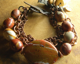 Jasper Bracelet Copper Noreena Red Yellow Rustic Tribal Jewelry