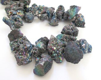 Crystal Druzy Beads - Rainbow Peacock - Sparkly Drusy Agate - Chunky Nugget Stone Beads - Top Drilled Graduated Quartz Chips - DIY Jewelry