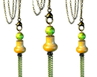 Boho Jewelry Tassel Necklace Pendant, Repurposed Jewelry, Upcycling, Ikea Hack, Lime Green