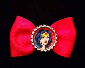 Wonder Woman pin up small red hair bow