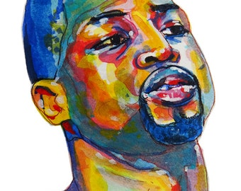 Miami Heat Dwyane Wade Painting Reproduction Print 11 x 8.5