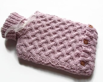 knitting pattern PDF file, Hot water bottle cover ,