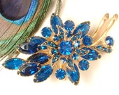 OOAK Teal Blue Rhinestone Gold Bridal Hair Comb or Sash Pin, Large Vintage Gold Floral Spray Peacock Royal Capri Brooch HairPiece Head Piece
