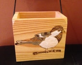 Handcrafted Small Handled Wooden Box with Robin Burned on