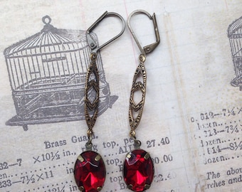 Deep Red Antique Gold Trinity Brass Earrings