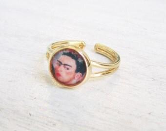 large Frida Kahlo ring , hand made printed ring, adjustable ring