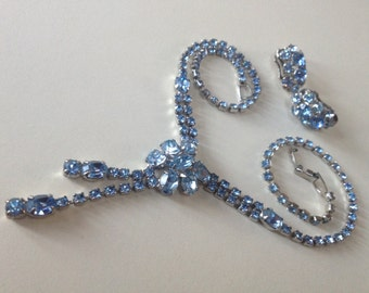 Blue Rhinestone Drippy Necklace Earring Set – 1950s Jewelry