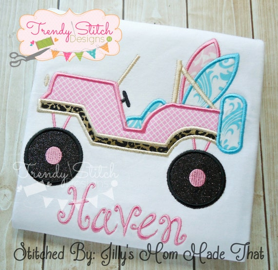 Items similar to jeep surf applique machine embroidery