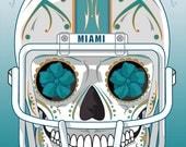 Miami Dolphins Sugar Skull 11x14 Print