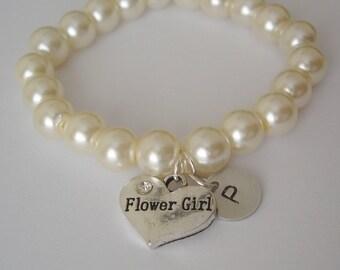 2 Flowergirl Initial and Heart Charm Pearl Bracelets as Gifts - bracelet, weddings, flowergirl jewelry, flowergirl bracelet, initial