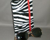 Eyeglass or Sunglasses Case - Zebra - Padded Zippered Pouch - iPhone - Cell Phone