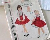 Vintage 1950s 1960s Girls Blouse Petticoat Jumper and Skirt  Sewing Patterns Girl Size 5 Simplicity 2249