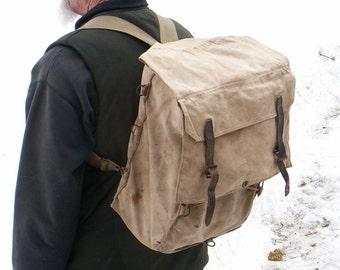 Vintage Canvas Backpack Khaki Rucksack