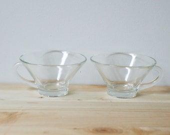 Pair of Mid Century Glass Teacups