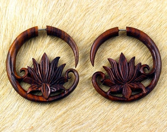 Fake Gauges, Fake Plugs, Hippie, Handmade Wood Earrings, Tribal Style - Lotus Crest Brown