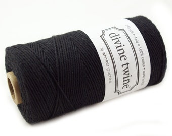 SOLID Bakers Twine 240 yard spool - BLACK twine - string for crafting, gift wrapping, packaging, invitations