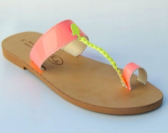 Greek Leather ( NEON ) Sandals