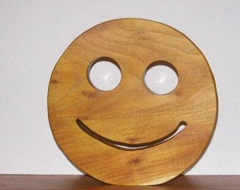 Trivet with a Smile Wooden Kitchen Decor Wood Trivet Smiley Face - Housewarming Gift