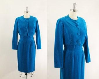 blue velet dress - 60s dress and jacket - 1960s dress and cropped jacket - vintage 60s wiggle dress