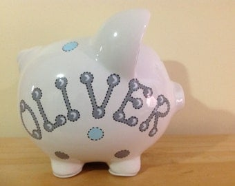 Personalized  Large Piggy  Bank Polka Dots and Stripes, blue  and grey  - Baby Showers Christenings, Birthdays