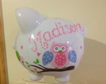 Personalized Large Piggy Bank Dena Happi Tree Owl-flower girl ,birthday, christenings, communions, Baby Shower Gift