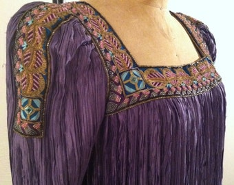 Purple Renaissance Revival Vintage MARY McFADDEN Beaded Fortuny Pleated Drop Waist Dress S