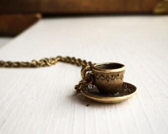 Teacup Necklace in Antique Brass / Pick ANY Length / So Cute