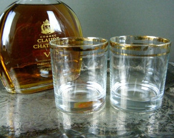 Set of 2, Shabby Gold Rimmed Double Old Fashioned's, Shabby Flaked Off Double Lined Gold Rims, Glamorous with Old Hollywood, Mad Men Style