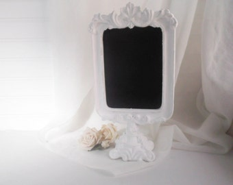 Chalkboard Frame Ornate Pedestal Style White Frame Wedding Table Number Display