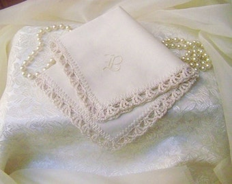 Monogrammed Handkerchief, Personalized, Embroidered, Hand Crochet, Lace, Lacy, Ladies, Hand Embroidered, Ready to ship, Off White, Ecru